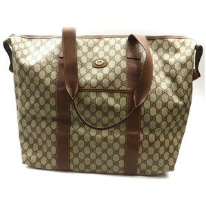 Auth Gucci Gg Shoulder Travel Bag Brown #4112G16